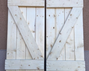 "2 Pine Shutters 10"" x 23"" (20"" wide combined) Unpainted"