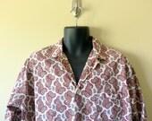 Vintage 50s 60s mens pajamas / 1950s sleepwear Mid century paisley / 1960s mad men / womens unisex /  Waldorf mod pjs  ... L XL