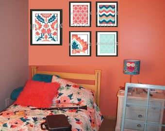 Coral Seafoam Teal Floral Modern inspired  Art Prints Collection (4) 8x10 (1) 11x14 Prints (UNFRAMED) #473277181