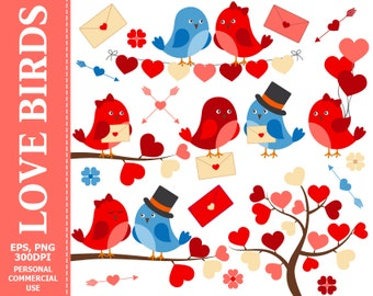 50% OFF SALE Love Birds Clip Art - Bird, Hearts, Love, Wedding, Branch, Arrows, Valentine's Day Clip Art. Commercial and Personal u