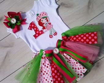 3 Piece Strawberry Shortcake Inspired Tutu Set with personalization embroidery of Name,  !st Birthday Set