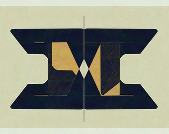 Abstract composition 766 - abstract geometric - minimalism - 84 x 60 cm - A1 - Limited edition