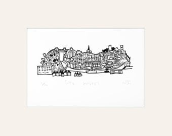 Little Bristol - lino print