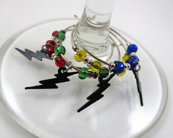 Harry Potter Inspired Lightening Bolt Wine Charms or Stemware Charms