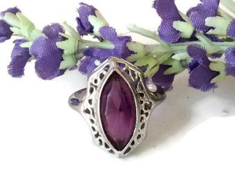 Art Deco Amethyst Ring, Sterling Silver, Size 5.75, February Birthstone