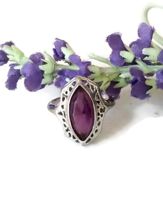 deco amethyst ring sterling silver size by weelambievintage