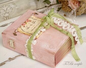Wedding Guest Book,Sage, Blush, Gold, Photo album, Shabby Chic Wedding, Custom Wedding Photo Booth album