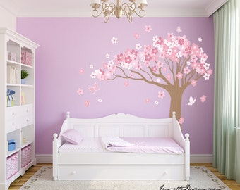 Tree Wall Decal,Large Cherry Blossom Tree Wall Sticker,Girl Wall Decal,Nursery Wall Decor