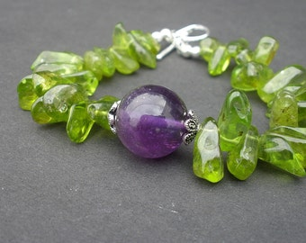 Gemstone Amethyst A Grade 15mm Round - Peridot Free Form Nugget - 925 Sterling Silver Bracelet, Green and Purple Bracelet