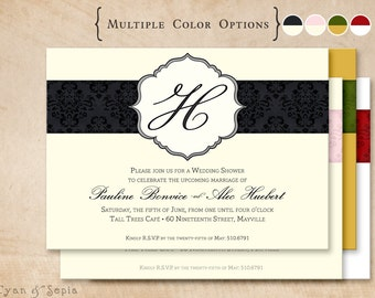 Printable 5x7 Wedding Bridal Shower Invitation - Damask Stripe - Formal Classic Custom DIY - Black Ivory Pink Gray Gold Green Red White