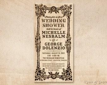 Printable Bridal Wedding Shower Invitation Photocard - 4x8 - Rustic Floral Woodburn Customized DIY - Brown Wood Antique Vintage Country Barn