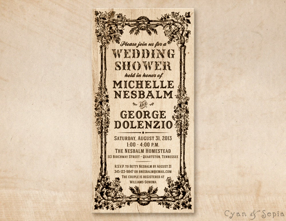 Printable bridal wedding shower invitation photocard 4x8 for 4x8 wedding invitations