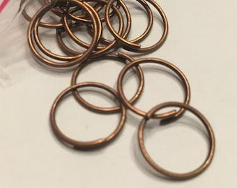 25 copper large open jumprings, 10 mm (K16)