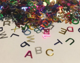 100 - 120 piece assorted letter confetti / sequins mix, 6 mm (29)+