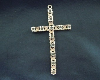 Vintage Gold Cross Pendant, 10 Karat Gold with Rhinestones.  Stamped 417, Excellent Condition