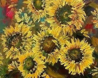 Original Sunflowers  Painting Acrylic Abstract -Sunflowers  -Sunflowers  Painting Flowes Canvas - Abctract  Sunflowers - Made to order