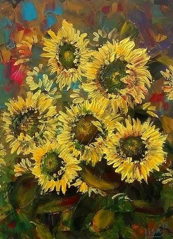 Original Sunflowers Painting Acrylic Abstract Sunflowers