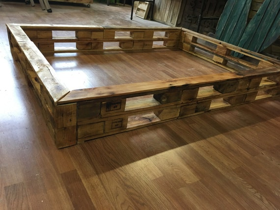 Queen Size Pallet Block Bed Rail Frame