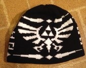 Triforce Beanie Hat: Large, Black with White