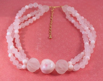Avon Sheer Style Pink Necklace - VIntage 1990