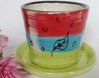 Planter Ceramic Stoneware -Handmade Pottery Planter- Garden Planter-Blue Red Chartreuse Leaf