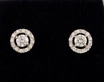 Spectacular vintage .88 Ct diamond target stud earrings