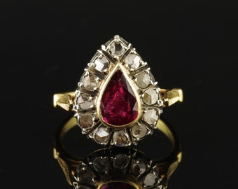 Victorian natural ruby and rose cut diamond ring