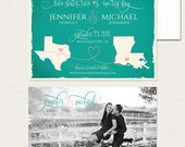 Jade Teal Green Two Sates Two Hearts One Big Day Save the Date Card Destination wedding invitation