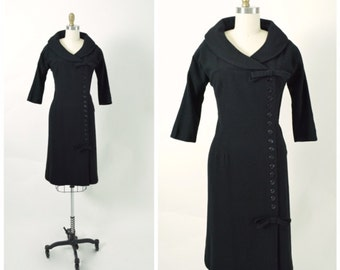 Vintage 1950s 50s Wiggle Dress Wool New Look Portrait Collar