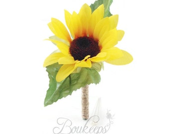 Sunflower Boutonniere, Silk Sunflower Boutonniere with Twine, Sunflower Wedding, Rustic Wedding, Country Wedding, Yellow Boutonniere