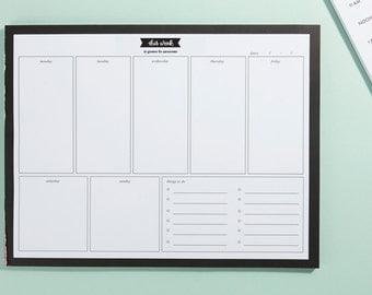 Weekly Planner - Planner Notepad - Calendar Notepad - Mousepad Notepad - Desk Calendar
