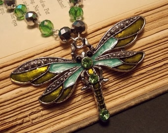 Silver and Green Beaded Dragonfly Necklace