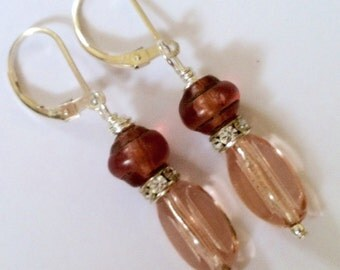 Pink Beaded Earrings On Sterling Silver Leverbacks