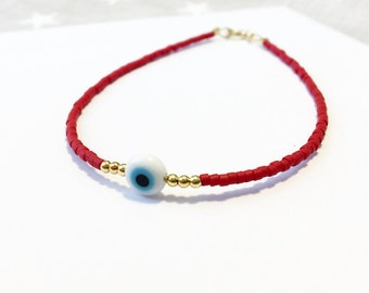 Evileye beaded bracelet - Red Friendship Bracelet - Tiny beaded lucky Bracelet - minimalist bracelet