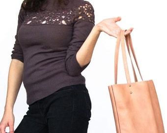Peach Leather purse, women leather bag, leather handbag