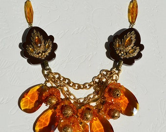 Art Deco Bakelite Rhinestone Cape Clasp Amber Crystal Celluloid Tulip Statement Necklace