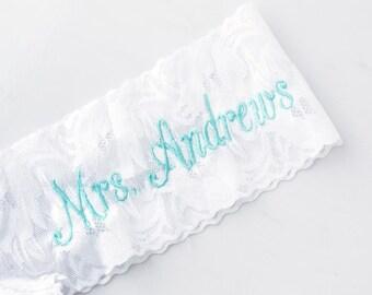 Personalized Mrs. Stretch Lace Thong, Something Blue, Bridal Undies, Bride Underwear, Honeymoon Lingerie, Bridal Shower Bachelorette Gift