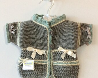 Short Sleeve, Grey Wool Baby Caridgan Sweater with Buttons and Bows, Ready to Ship