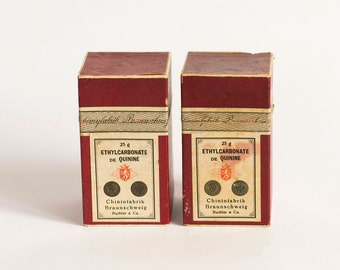 Antique Apothecary Pharmaceutical Boxes, Set of 2 Old Empty Boxes of Quinine