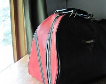 Vintage Brunswick Bowling Bag, Vintage Bowling Ball, Automatic Scorer, Red and Black Bag, Retro Purse, Retro Bowling Bag, Mod Handbag