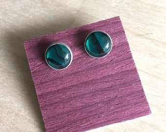 Teal Paua Shell Stud Earrings Sterling Silver