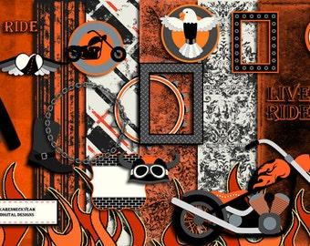 Digital Scrapbook Kit - Born To Ride