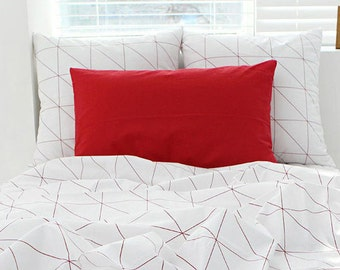 Red Lines Cotton Fabric - Red on White - Geometric - By the Yard 89042