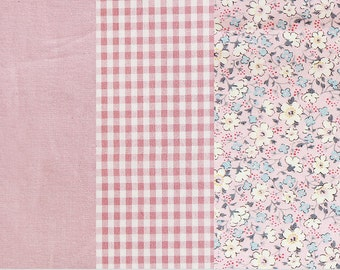 Pink Cotton Fabric, Pink Flowers Fabric, Pink Plaid Fabric, Solid Pink Fabric - By the Yard 77281