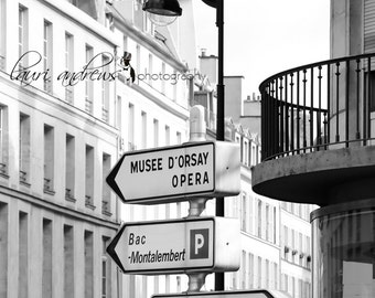 Paris France Fine Art Photography Street Signs Home Decor Black and White Photography