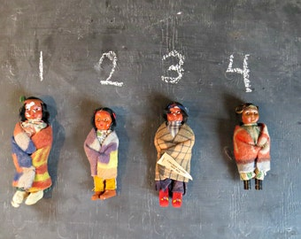 4 Skookum Dolls. Vintage Indian Doll. Beacon Blanket robe. Native American Dolls. |Curious Moose Vintage