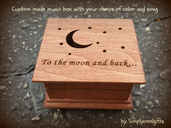 music box, wooden music box, custom made music box, to the moon and back, personalized music box, musical box, valentines day gift