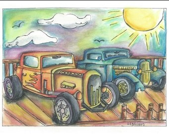 Watercolor car painting print, car show painting, classic car painting, classic car art, car show art, classic car picture