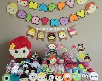 Tsum Tsum Inspired Birthday Banner- Tsum Tsums - Party Banner
