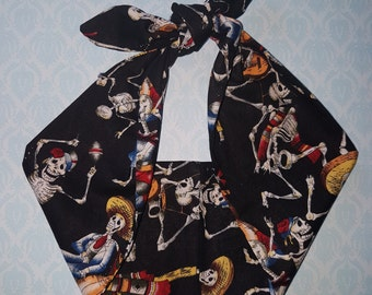 mexican skull day of the dead rose bandana, psychobilly tattoo hairband headband